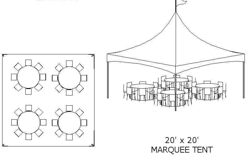 Hemet party rental tent layout ideas for Wedding tent layout